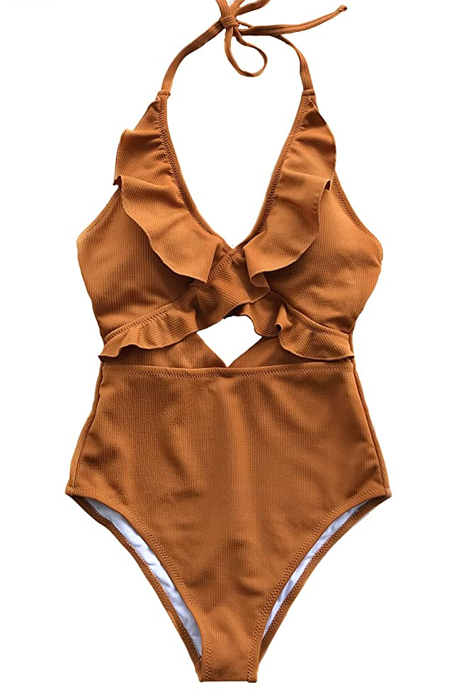 CUPSHE Women's Stay with You Falbala Halter Padding One-Piece Swimsuit