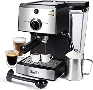 Espresso Machines 15 Bar Fast Heating Coffee Machine with Milk Frother for Espresso, Cappuccino, Latte and Mocha, 1.5L Rem...