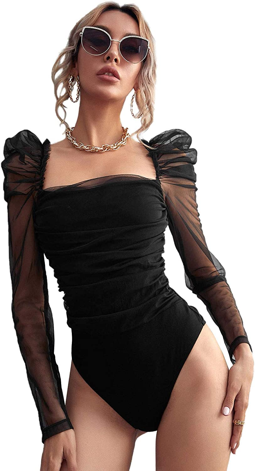 Romwe Women's Square Neck Sheer Mesh Leg-of-mutton Long Sleeve Ruched Party Bodysuit