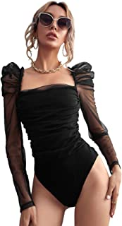 Romwe Womens Square Neck Sheer Mesh Leg-of-mutton Long Sleeve Ruched Party Bodysuit