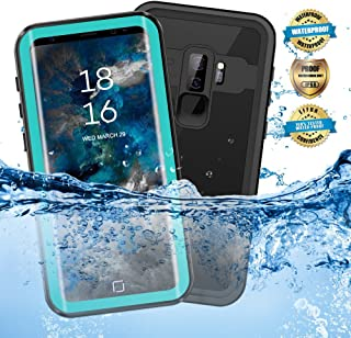 EFFUN Samsung Galaxy S9 Plus Waterproof Case, IP68 Certified Waterproof Underwater Cover Dustproof Snowproof Shockproof Case with Phone Stand, PH Test Paper and Floating Strap Black/White/Aqua Blue