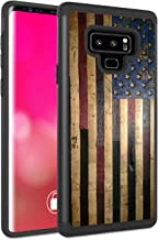 Galaxy Note 9 Case, Rossy Heavy Duty Hybrid TPU Plastic Dual Layer Armor Defender Protection Case Cover for Samsung Galaxy Note 9 (2018) SM-N960,American Flag on Wood