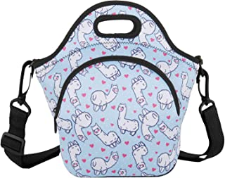 Violet Mist Unicorn Mermaid Neoprene Insulated Lunch Tote Bag Soft Large with Extra Pocket Detachable Adjustable Shoulder Lunchbox Handbags for Women Men Kids Girls Boys School(Alpaca)