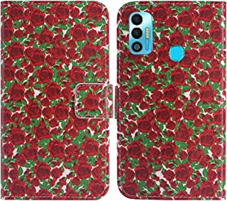 "TienJueShi Rosa Flower Fashion Stand TPU Silicone Book Stand Flip PU Leather حافظة الهاتف لـ Tecno Spark 7T 6.5"" Cover Etu..."