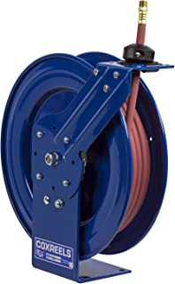 """Coxreels P-LP-150 Low Pressure Retractable Air/Water Hose Reel: 1/4"""" I.D., 50` Hose Capacity, with Hose, 300 PSI, Made in USA"""