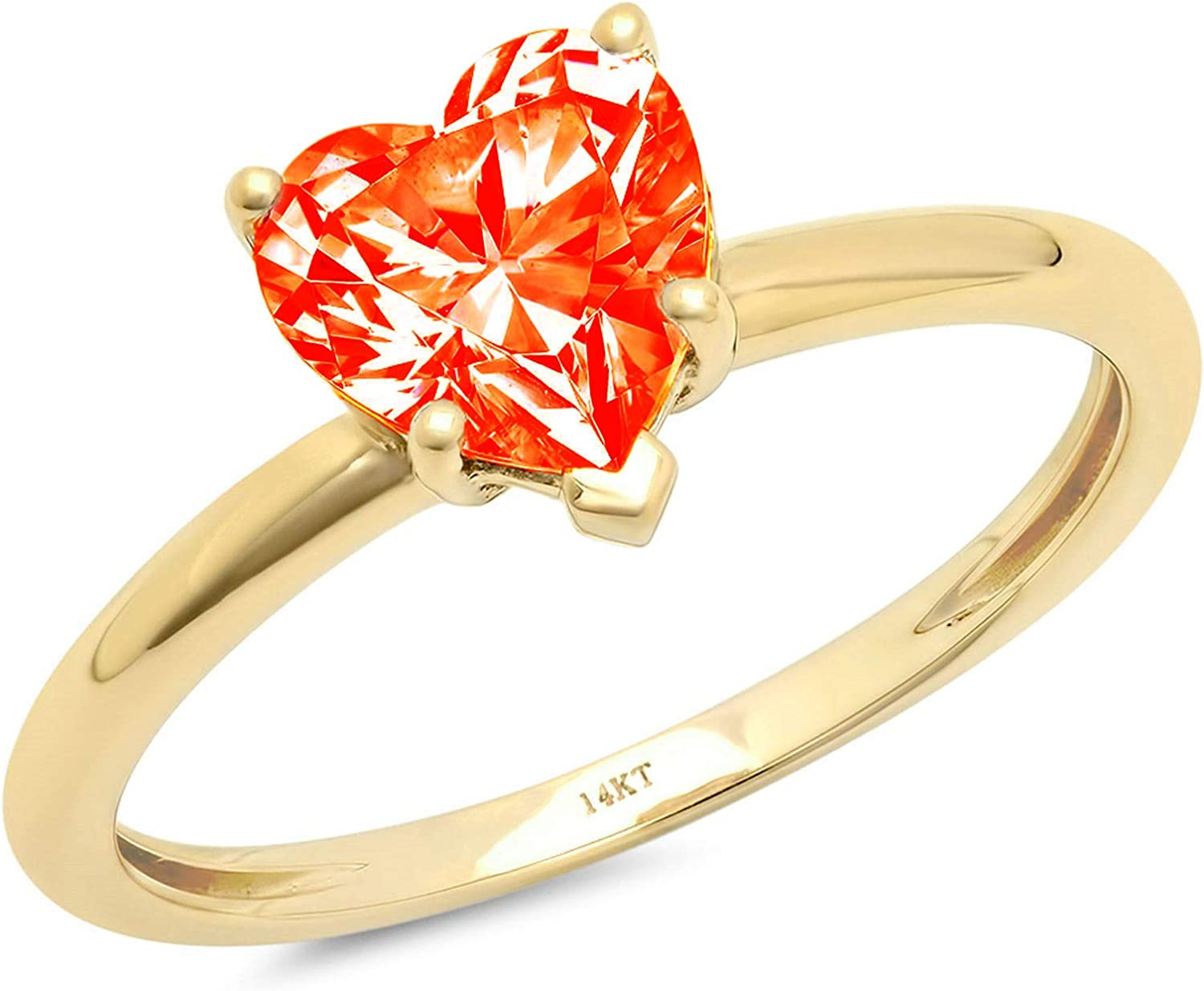 0.9ct Brilliant Heart Cut Solitaire Stunning Genuine Red Simulated Diamond Cubic Zirconia Ideal VVS1 D 5-Prong Engagement Wedding Bridal Promise Anniversary Ring Solid 14k Yellow Gold for Women