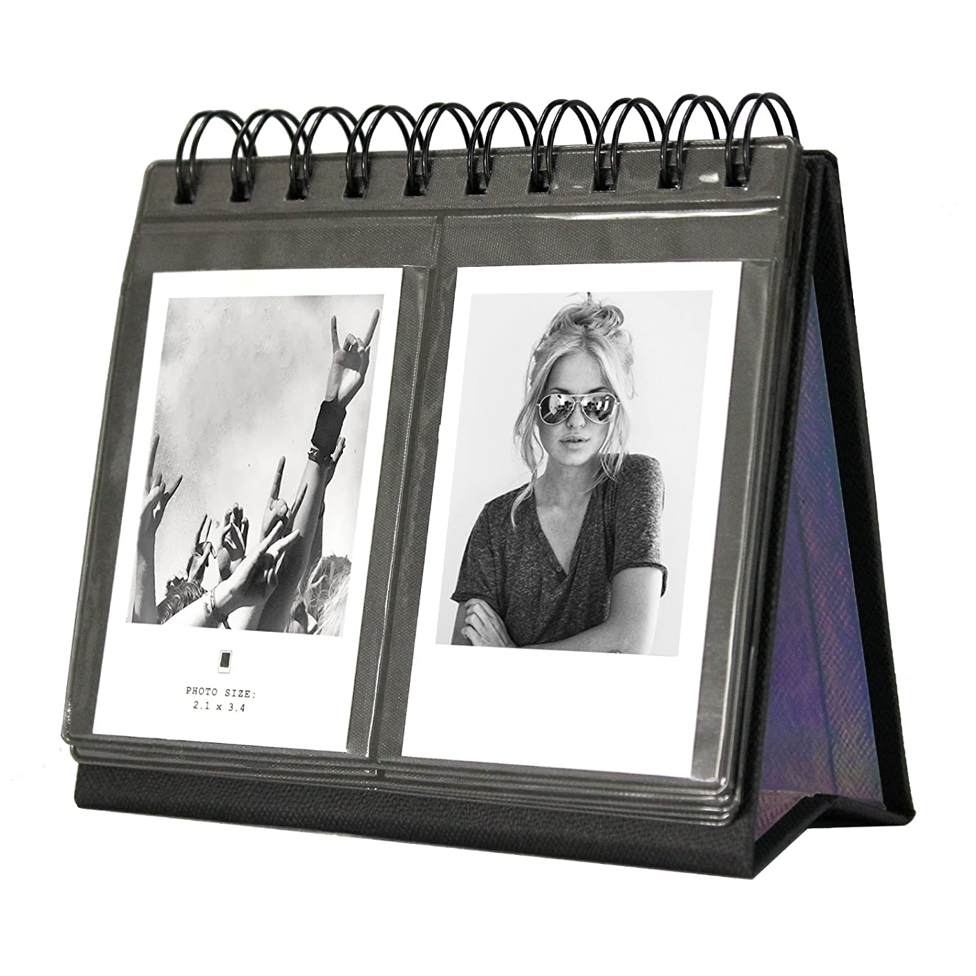 [Fujifilm Instax Mini Photo Album] 68 Pockets Desk Calendar Album for Fuji Instant Mini 70 7s 8 25 50s 90, Polaroid Z2300, Polaroid PIC-300P Film (Black)