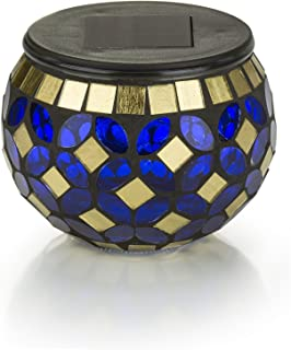 Solar Mosaic Glass LED Decorative Table Light (Blue and Gold)