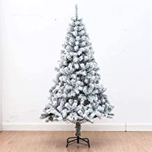 Premium Snow Flocked Hinged Artificial Pine Christmas Tree Holiday Decor Metal Stand for Holiday Decoration