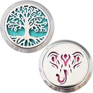 Hanu Aromatherapy Car Diffuser Locket With Vent Clip Essential Oil Diffuser Stainless Steel 30mm