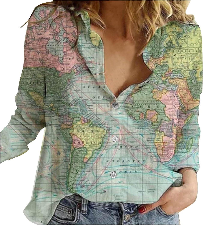 Jaqqra Womens Long Sleeve Tops, Women's Lapel Button Shirt World Map Print Long Sleeve Loose Casual Tops Blouses Shirts