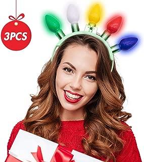BigOtters Light Bulb Headband, 3 PCS LED Flashing Light Bulb Head Decor Holiday Party Dressup Christmas Accessories Halloween Party Favors
