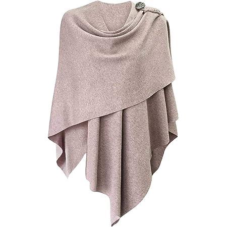 PULI Damen Poncho Schal Cashmere Feeling Strick Cape Cardigan Für Frauen Geschenk Für Mutter