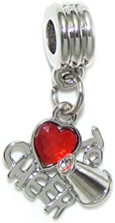 Silver Plated Dangling 'Love to Cheer w/Red Crystal Heart' for European Snake Chain Bracelets