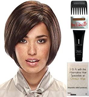 Bundle - 5 Items: Nita Petite Wig by Jon Renau, Christy's Wigs Q & A Booklet, 2oz Travel Size Wig Shampoo, Wig Cap & Wide Tooth Comb - Color: 27T613F
