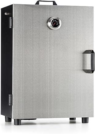 Klarstein Flintstone Steel Horno para ahumar • Ahumador eléctrico • 800 W • 3 parrillas de ahumado • Ventilación • Temómetro integrado • Grill BBQ pescado, carne y verduras