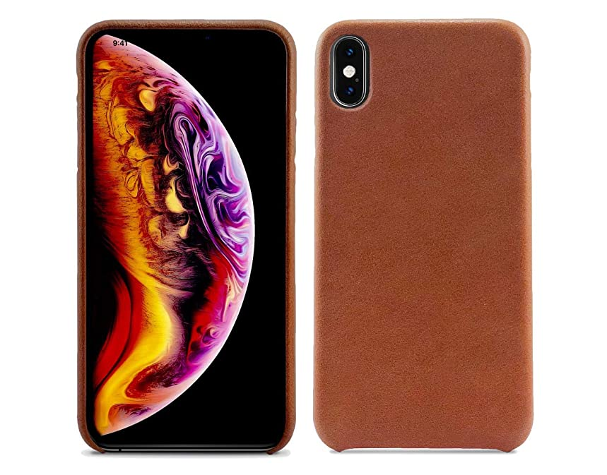 Essential Co. - Genuine Leather Apple iPhone Xs Max Case - Protective & Durable with Vintage Slim Design - Caramel (Brown) - Handled in San Francisco, CA