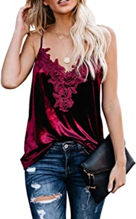 Women Sexy Lace Cami Tank with Adjustable Spaghetti Straps