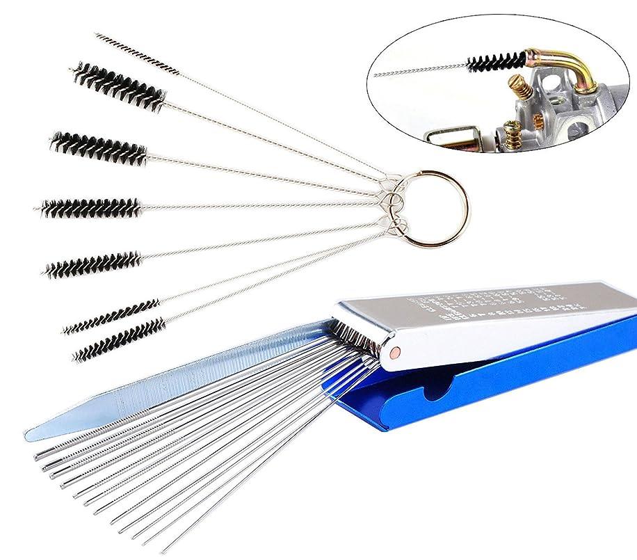 Podoy Carburetor Tool Kit Clean 13 Wires Jet Cleaning Needles 7 Nylon Tube Brushes Cleaner for ATV Moped Welder Carb
