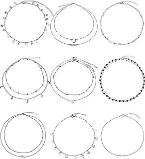 BBTO 9 Pieces Women Girls Layered Choker Necklace Sliver Layered Pendant Choker Jewelry Set