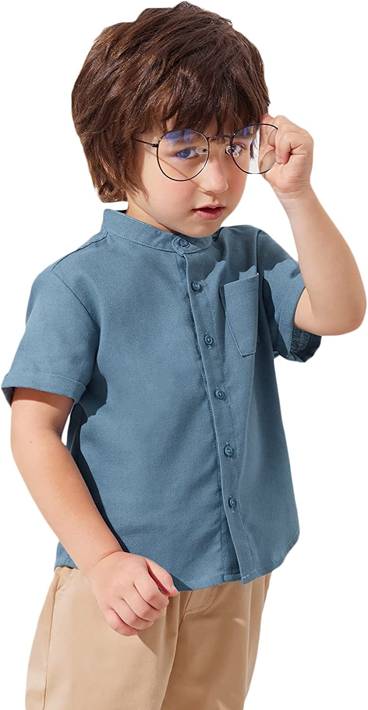 Romwe Boy's Short Sleeve Uniform Oxford Button Down Shirts