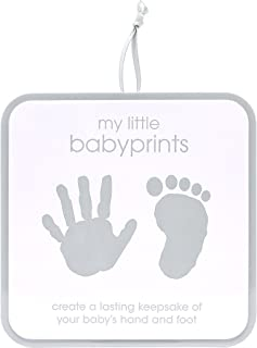 Pearhead My Little Babyprints, Handprint or Footprint Impression Kit and Keepsake Tin Perfect for Capturing Baby`s Print, Excellent First Fathers Day Gift for Dad, Grey Chevron
