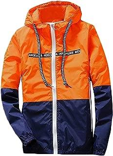 BuZaiYouYu Mens Casual Spell Color Sun Protection Slim Jacket Fashion