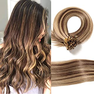 S-noilite U Tip Remy Human Hair Extensions Pre Bonded Nail Tipped Hair Piece Italian Keratin U Tip Fusion Extensions Silky Straight 100 Strands 22 Inch-50g (#4P27 Medium Brown&Dark Blonde)