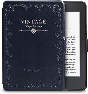 WALNEW Amazon Kindle PaperwhiteとPaperwhiteマンガモデル用カバー(Kindle Paperwhite (2018年に公開した第10世代)に適応できない)ビジネスクラシックなデザイン 最も薄く、最軽量の保護 レザーケース マグネット機能搭載,レトロネービーブルー