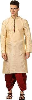 Royal Kurta Mens Silk Self Design Kurta And Dhoti Pant (Gold)
