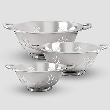 ExcelSteel Resting Base, Dishwasher Safe Excellent for Vegetables, Salad, Fruit, Pasta Pineapple Colander, 1 QT/2.5 QT/4 QT, Stainless