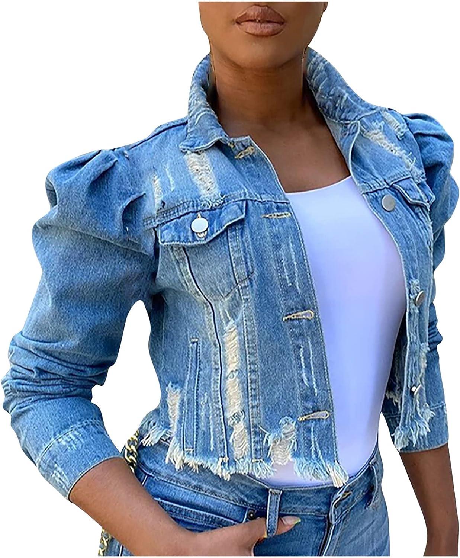 GOODTRADE8 Cardigan Sweaters Women's Street Short Lapel Frayed Breasted Denim Puff Sleeve Slim Denim Jacket