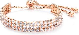 NEVI Zirconia Rose Gold Plated Multi Strand Bracelet For Girls And Women