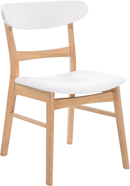 Emerald Home Simplicity White And Light Oak Dining Chair With Vinyl Upholstered Seat And Curved Back Set Of Two