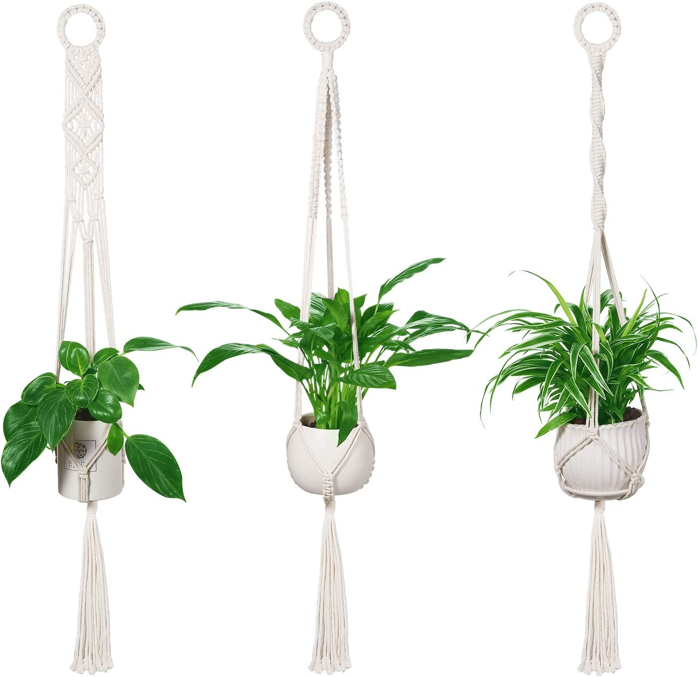 LEEPES 3 Pack Macrame Plant Indoor Wall Mesa Mall Selling Hanging Planters Hangers