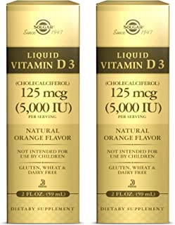 Solgar Liquid Vitamin D3 125 mcg (5,000 IU), 2 fl oz - Pack of 2 - Natural Orange Flavor - Helps Maintain Healthy Bones & ...