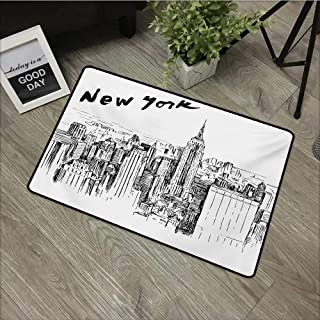 Outdoor Door mat W35 x L59 INCH New York,Vintage Hand Drawn Urban Scenery with Skyscrapers Sketch Style Downtown,Charcoal Grey White Non-Slip, with Non-Slip Backing,Non-Slip Door Mat Carpet