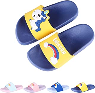 Boys Girls Slide Sandals Kids Outdoor Beach Pool Sandal Soft Unicorn Bath Slippers (Toddler/Little Kid)