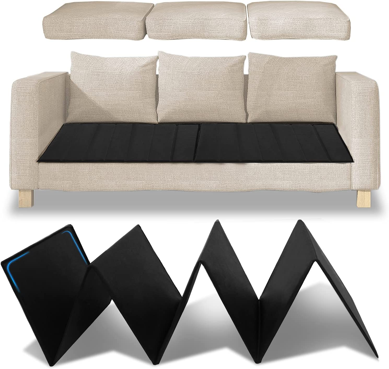 """HomeProtect Sofa Cushion Support Board for Sagging Cushions, Extra Thick PP Board Under Couch Cushion Replacement, Foldable Furniture Fix Seat Saver 66""""x17"""", Extend The Life of Sofa"""