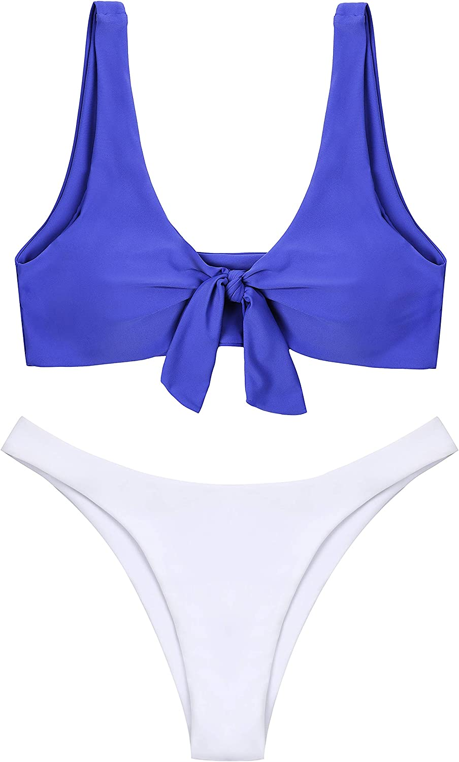 Lemonfish Women's Bikini Swimsuit Tie Knot Front Swimwear Set 2 Pieces Solid Bathing Suits