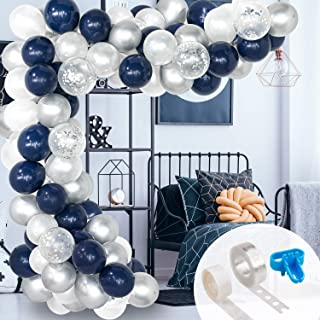 Whaline 120 Pcs Balloon Arch & Garland Kit, Navy Blue White Latex Balloons Silver Confetti Balloons Set with 16ft Balloon Strip Tape,1pcs Tying Tool and 100 Dot Glue for Wedding Birthday Party Decor