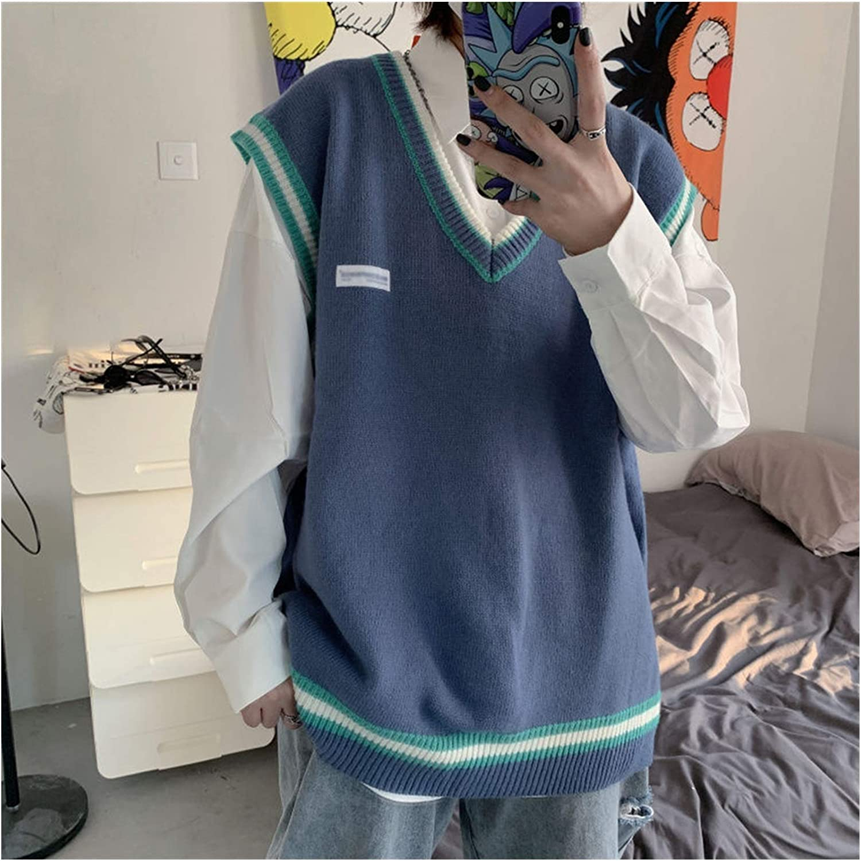 LYLY Vest Women Sweater Vest Men V-Neck Shrug Patchwork Knitted Couples Plus Size 3XL Oversize Harajuku Vests Chic Korean Style Leisure Vest Warm (Color : Blue, Size : S)