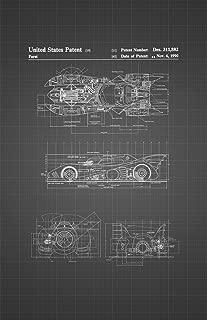 Framable Patent Art Original Ready to Frame Décor Vintage Batmobile Batman Superhero 11in by 17in Patent Art Poster Print Black Blueprint PAPSSP81BB