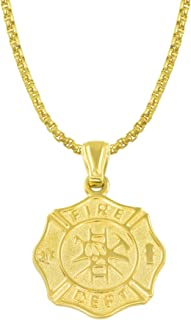 Divoti PVD Gold 316L Stainless Firefighter Maltese Cross Necklace - Badge Charm Pendant w/Fancy Box/Snake/Ball Chain