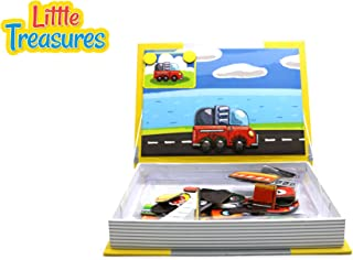 Little Treasures 68-Pcs Transport Puzzle Magnetic Dress-Up Toy Book for Kids Ages 3 Plus