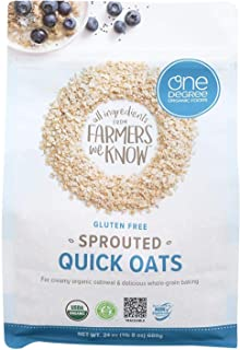 ONE DEGREE ORGANIC FOODS, Sprtd Oats, Og2, Quick, Pack of 4, Size 24 OZ, (Gluten Free Vegan 95%+ Organic)