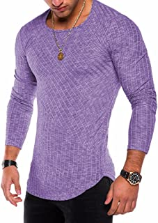 Men's Crew Neck T-Shirts Long Sleeves Modern Fitted Tees Long Tail Curved Hem Tops Purple L9 L