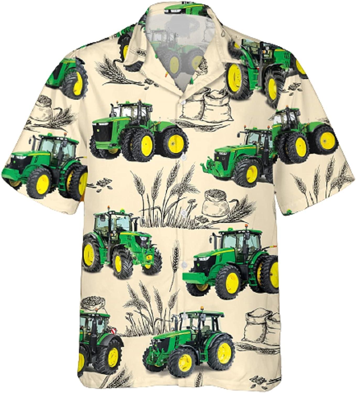 Luckygoo Tractor and Barley Hawaiian Shirt - Tractor Beach Shirt, Gifts for Men and Women White