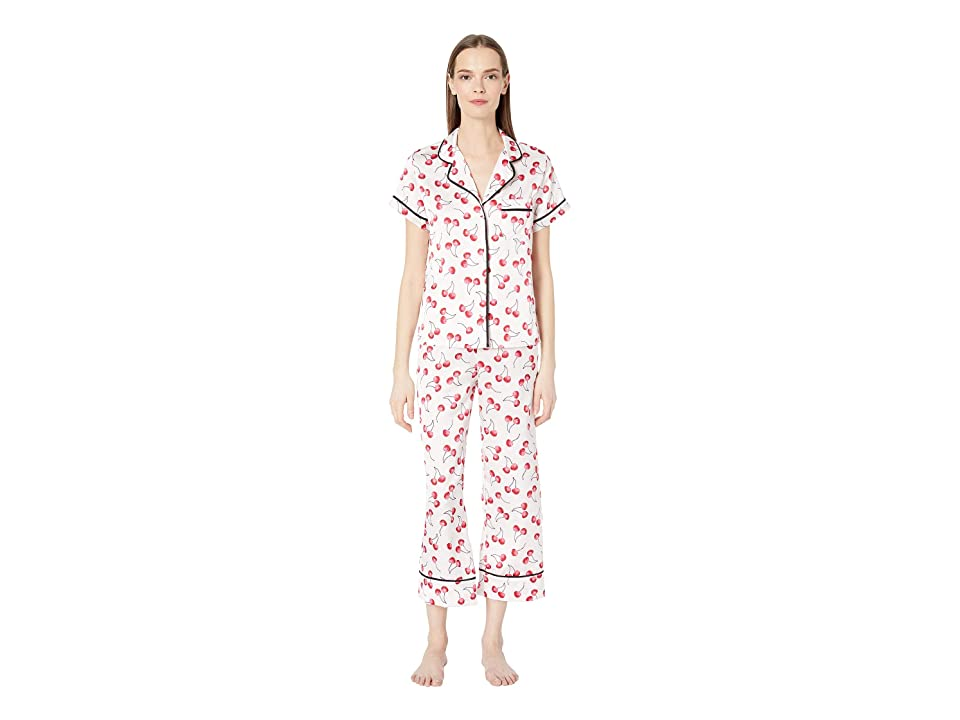 Kate Spade New York Charmeuse Cropped Pajama Set (Cherry Toss) Women