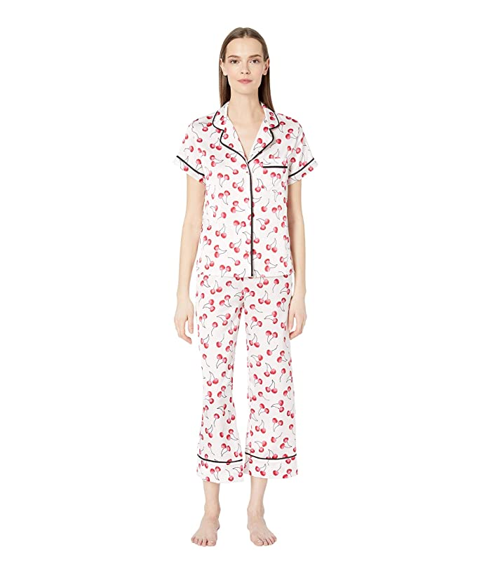 Kate Spade New York Charmeuse Cropped Pajama Set (Cherry Toss) Women